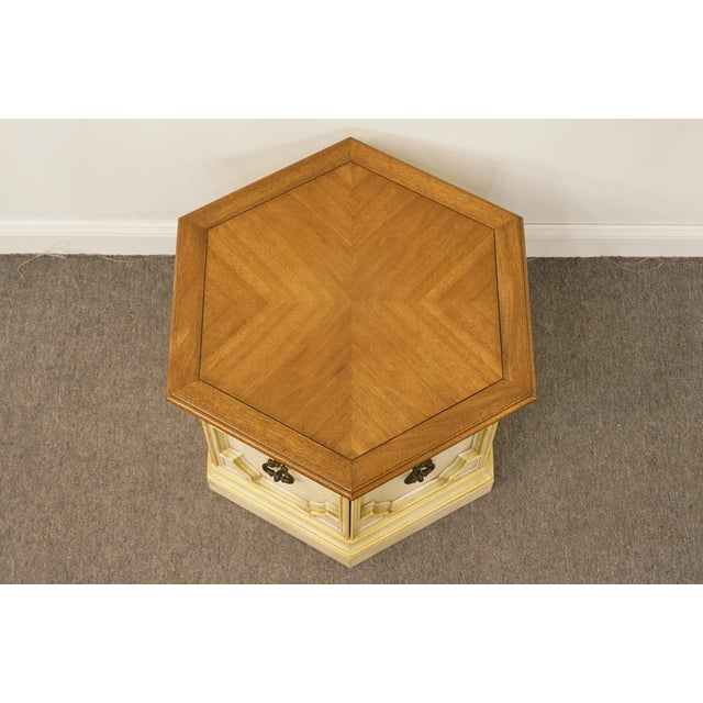 Late 20th Century Late 20th Century Vintage Drexel Heritage Siena Collection White Hexagonal Side Table For Sale - Image 5 of 11