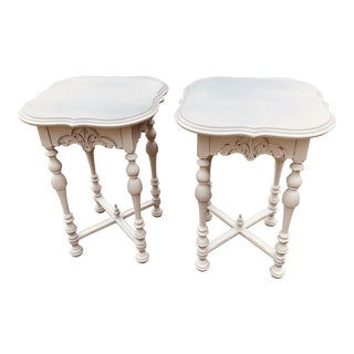 1920s French Linen Jacobean End Tables - a Pair For Sale