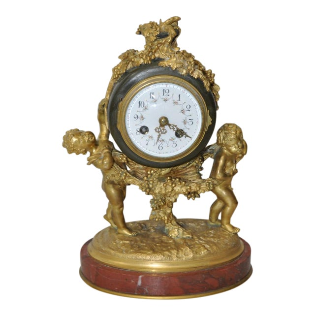 Auguste Moreau Bronze & Marble French Mantle Clock 19th Century For Sale