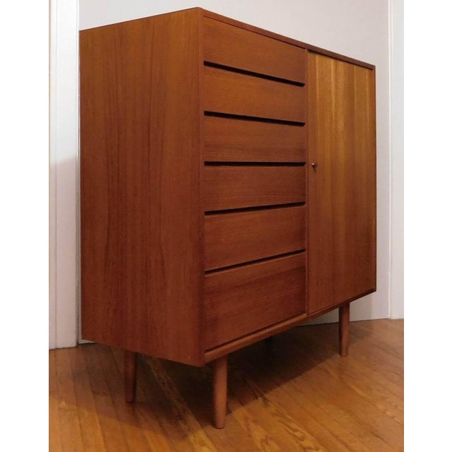 Danish Modern Uldum Mobler Teak Gentlemans Tallboy Chest Dresser For Sale - Image 9 of 9