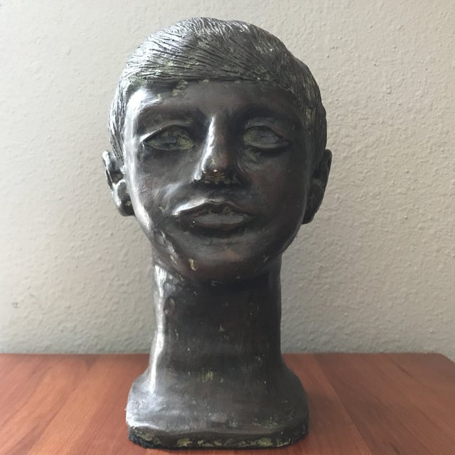 Ceramic Vintage Handcrafted Pottery Male Bust For Sale - Image 7 of 7