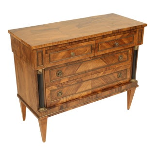 1950s Italian Burl Olive Wood Neo Classical Style Chest of Drawers For Sale