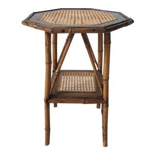 Vintage Handmade Bamboo, Rattan & Cane Side Table