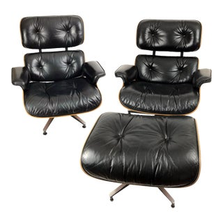 Rosewood Eames for Herman Miller Lounge Chairs and an Ottoman- 3 Pieces For Sale