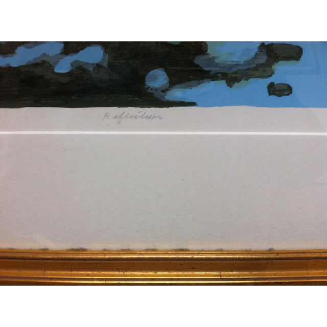 "Paper Vintage Mid-Century Frederick McDuff ""Reflections"" Framed & Matted Limited Edition Print For Sale - Image 7 of 10"