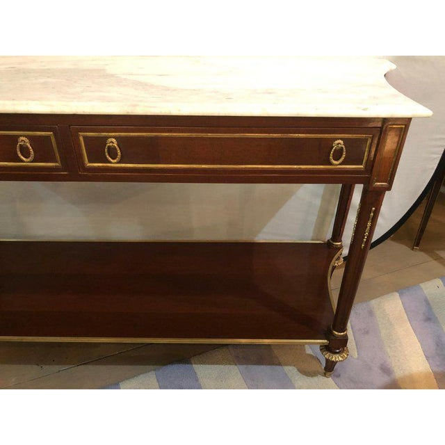 1960s Pair Marble Top Russian Neoclassical Consoles W Concave Sides & Bronze Mounts For Sale - Image 5 of 12