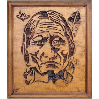 Wood Carved Relief Artwork Depicting a Native American Chief For Sale