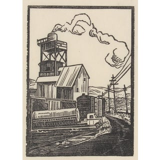Circa 1940s Rural Factory Linoleum Block Print by Mary Watterick Evans For Sale