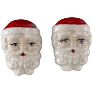 Santa Claus Earrings Holland Mold Christmas 1950s Vintage Not Rhinestones Porcelain For Sale