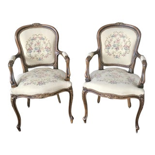 Late 20th Century Vintage Chateau D'Ax Italian Needlepoint Armchairs - a Pair For Sale