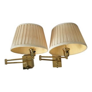 Mid-Century Articulated Brass Wall Lights - a Pair For Sale