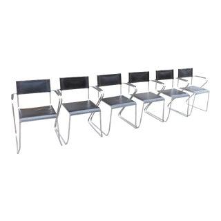 Mid Century Modern Marcel Breuer Knoll Italian Tubular Chrome Leather Chair- Set of 6 For Sale