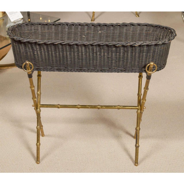 Jacques Adnet Wicker Planter With Gilt Brass Bamboo Base For Sale In San Francisco - Image 6 of 7