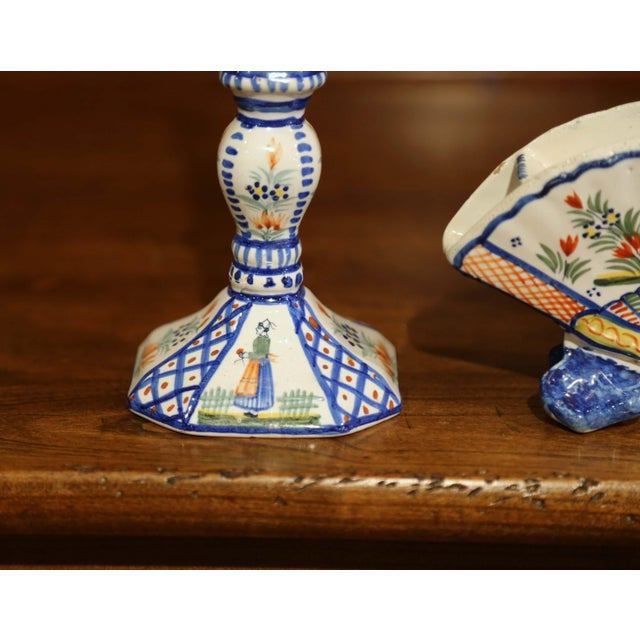 Mid-20th Century French Henriot Quimper Pair of Candlesicks With Matching Vase For Sale - Image 12 of 13