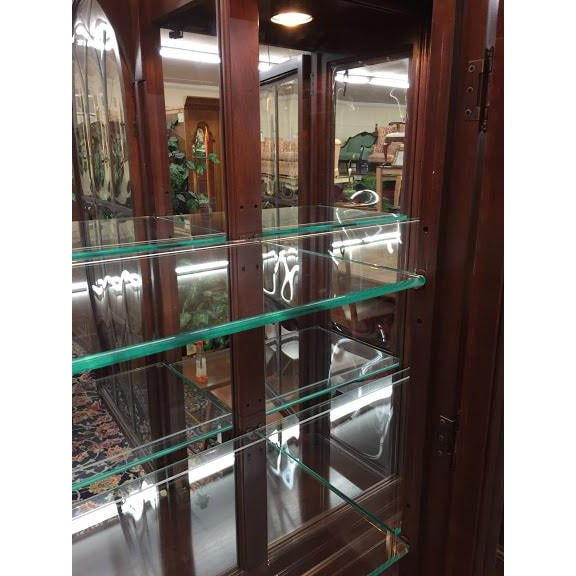 Ethan Allen Full Bonnet Solid Cherry China Cabinet For Sale - Image 9 of 12