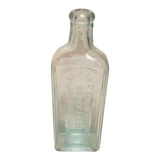 Early 20th Century Aqua Glass Medicine Bottle For Sale