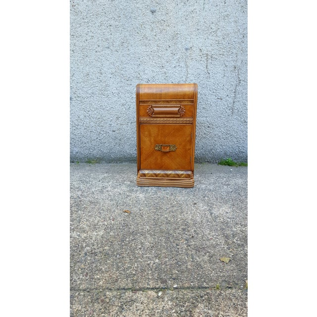 Vintage Restored Art Deco Waterfall Nightstand - Image 2 of 7
