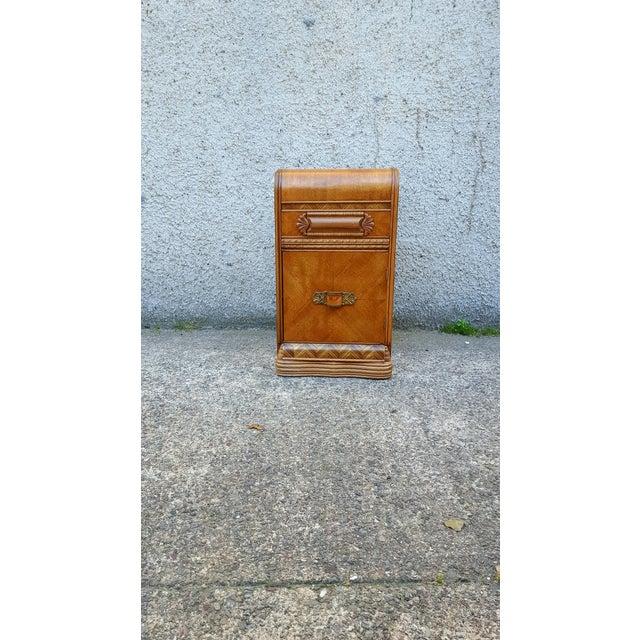 "Stunning depression era ""Waterfall"" nightstand/chest with ornate wood details. Original Bakelite hardware! Freshly..."