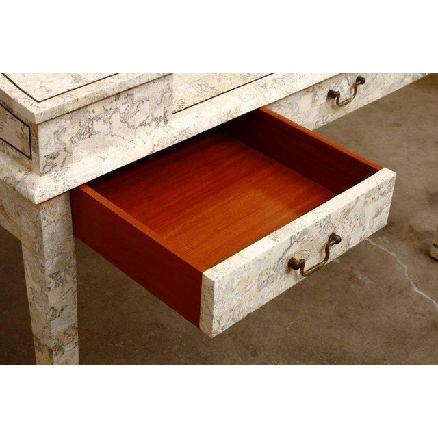 Tessellated Stone Carlton House Desk by Maitland-Smith For Sale In San Francisco - Image 6 of 13
