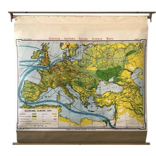 1950s Economic European Pull Down School Map For Sale
