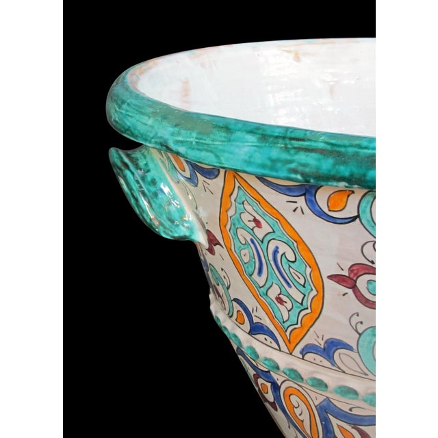 Modern A Large and Vibrantly Glazed Pair of Moroccan Conical-Form Double-Handled Pots; Purchase in Fez, Morocco For Sale - Image 3 of 5