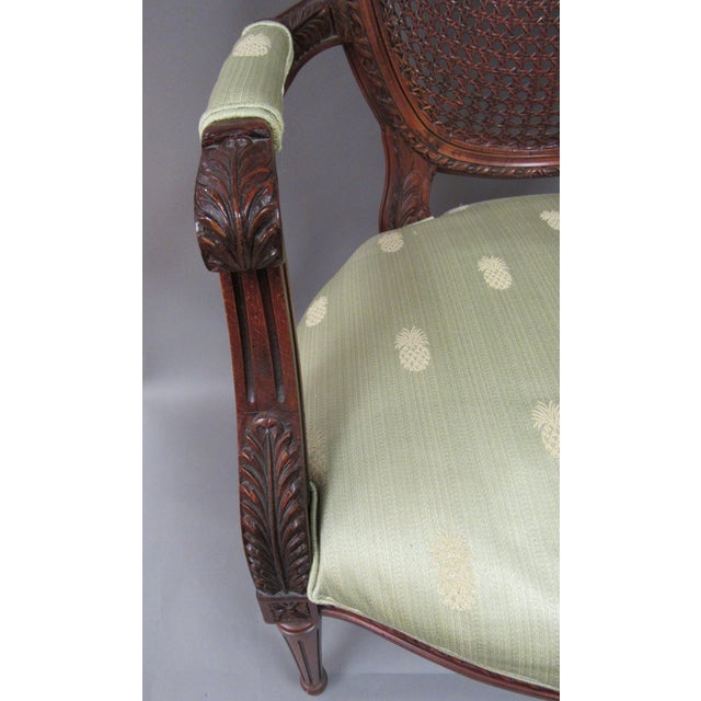 Wood Vintage Fairfield Louis XVI Style French Upholstered Cane Back Bergere Chair For Sale - Image 7 of 11