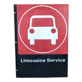 Vintage Metal Limousine Service Sign For Sale