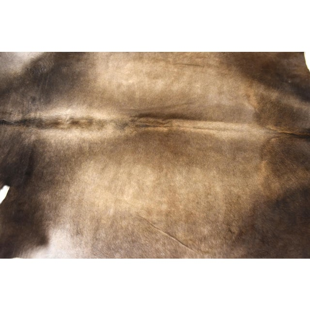 "Premium Aydin Cowhide Rug, Handmade in Europe, Gray, 6'7"" X 6'7"" For Sale - Image 4 of 6"