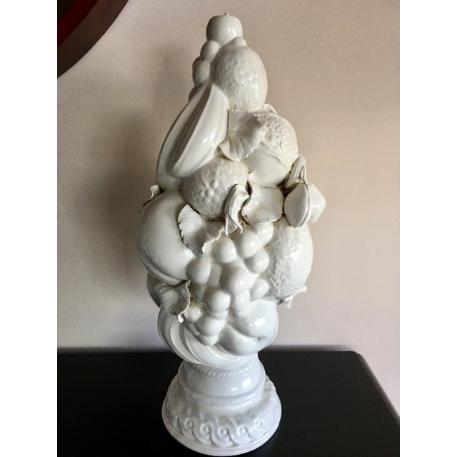 Beautiful vintage Tuscan style ceramic white fruit topiary. Made in Italy.
