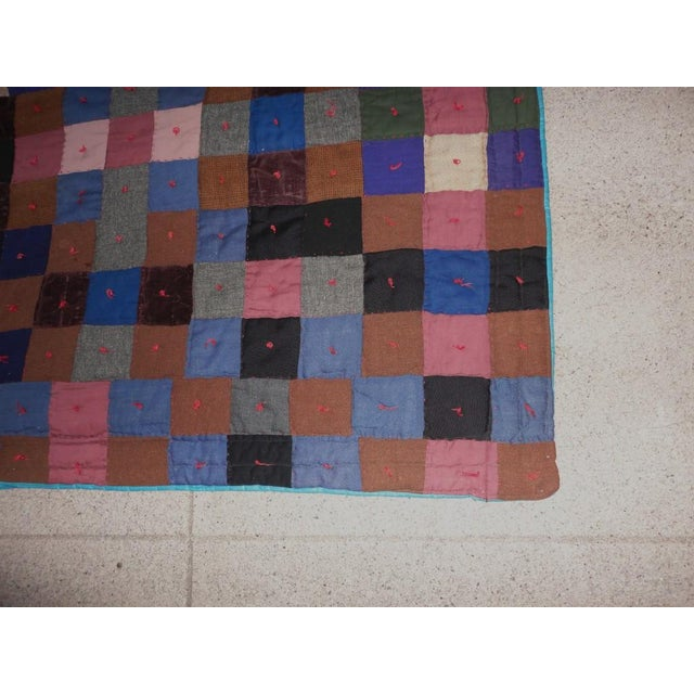 Adirondack Early Pennsylvania Wool and Velvet One-Patch Quilt For Sale - Image 3 of 7
