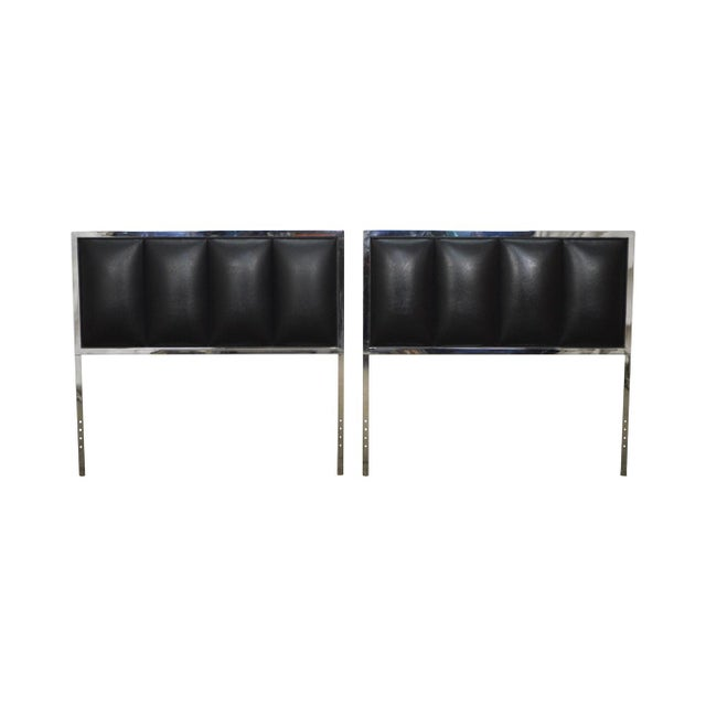 Milo Baughman Mid Century Modern Pair of Chrome & Black Faux Leather Twin Headboards - Image 11 of 11