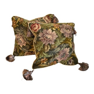 English Traditional Pillows Constructed of Antique Fabric - a Pair For Sale