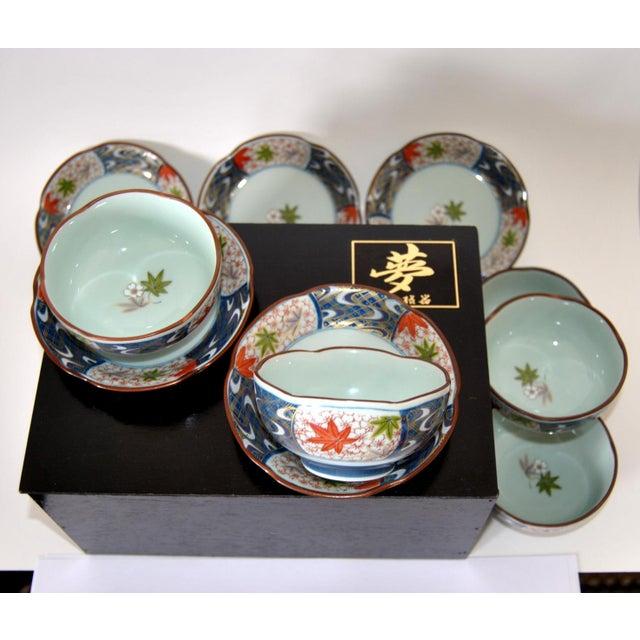 Vintage Cherry Blossom Shaped Celadon Arita Imari Cups, Saucers & Box - Set of 10 For Sale - Image 9 of 9