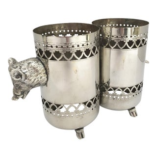 Wild Boar Double Bottle Holder, Silver Plate Rare For Sale