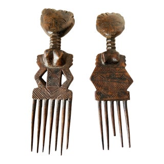 African Old Senufo I.Coast Combs W/ Female Sculpture S/2 For Sale