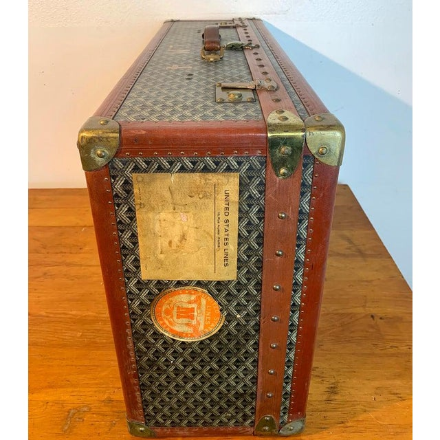 Mid 20th Century Vintage Goyard Hardcase Trunk on Iron Stand For Sale - Image 5 of 13