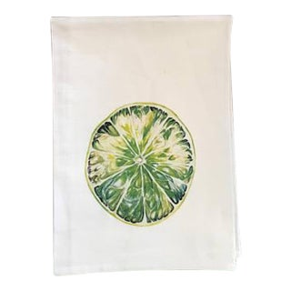 Watercolor Lime Tea Towel For Sale