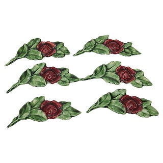 French Majolica Rose Knife Rests - Set of 6 For Sale