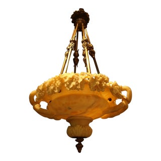 Antique chandelier. Alabaster plafonnier For Sale