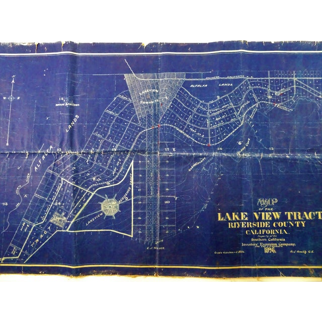 Antique Blue Print Map of Southern California For Sale - Image 4 of 13