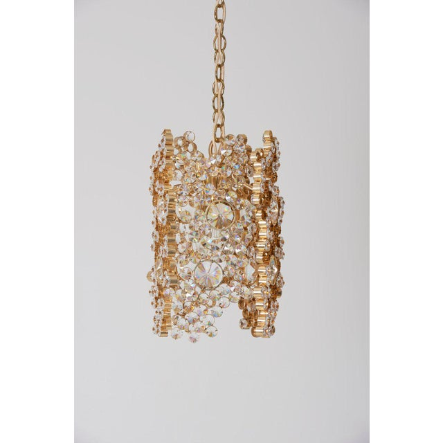 Palwa One of Three Palwa Gilded Brass and Crystal Glass Encrusted Pendant Lamps For Sale - Image 4 of 11
