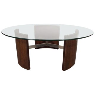 Mid-Century Modern Walnut, Chrome and Glass Cocktail Table by Vladimir Kagan For Sale