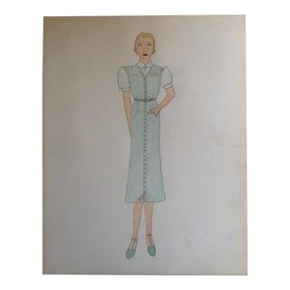 Original Vintage Art Deco Female 1930's Fashion Illustration Painting For Sale