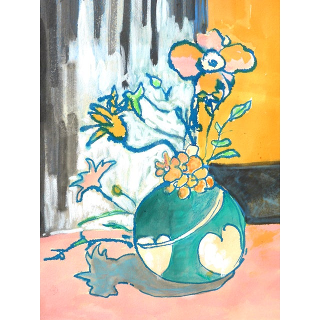 Contemporary Drawing, Flowers in a Heart Vase For Sale - Image 4 of 9