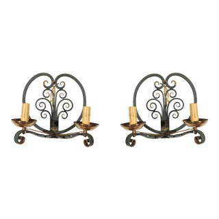 1940s French Moderne Double Candelabra Sconces - a Pair For Sale