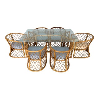 Vintage Boho Chic Rattan Dining Table and Chair Set - 7 Pieces For Sale