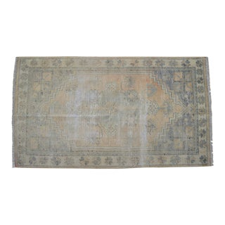 Distressed Low Pile Oushak Rug Faded Colors Vintage Petite Rug - 32'' X 57'' For Sale