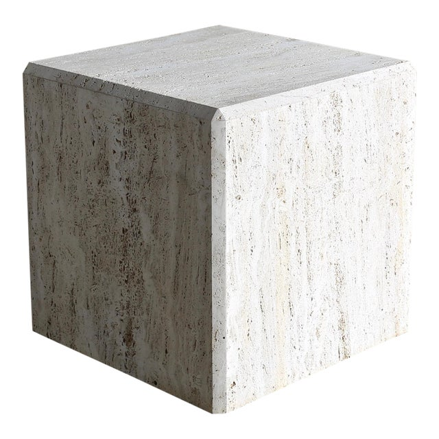 Travertine Cube Side Table, Circa 1980 For Sale