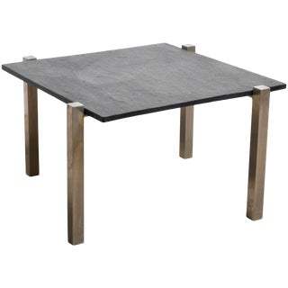 Black Slate Top Chrome Square Coffee Table, 1960s For Sale