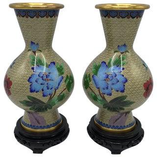 1960s Cloisonné Polychrome Floral Motif Vase on Stand, Pair For Sale